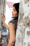 Portrait der schönen Frau an im Freien Lizenzfreies Stockfoto