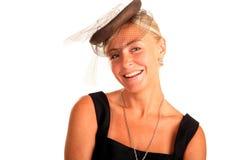 Portrait der schönen Frau mit einem Schleier auf ihrem hea Stockfoto