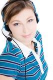 Portrait der schönen Frau mit Kopfhörern lizenzfreie stockfotos
