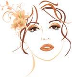 Portrait der schönen Frau mit Lilien im Haar Stockfoto