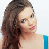 Portrait der schönen Frau Weißer Hintergrund Stockfoto