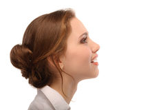 Portrait der schönen Geschäftsfrau im Profil Stockbild
