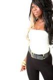Portrait der schönen jungen Afroamerikaner-Frau Stockfoto