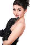 Portrait der schönen jungen Frau in einem schwarzen Kleid Lizenzfreie Stockbilder
