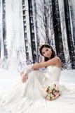 Portrait der schönen jungen Frau im Hochzeitskleid Lizenzfreie Stockfotografie