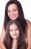 Portrait der schönen Mutter und der Tochter Lizenzfreies Stockbild