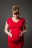 Portrait der schönen schwangeren Frau im roten Kleid Stockbild