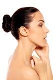 Portrait der schönen Badekurortfrau Stockfotos