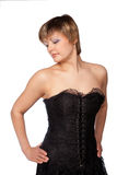 Portrait der schönen Frau in einem schwarzen Kleid Stockbild