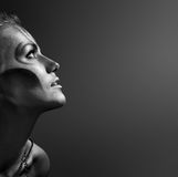 Portrait der schönen Frau mit silbernem bodyart Stockfoto