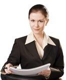 Portrait der SchreibensGeschäftsfrau getrennt Stockfotos