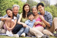 Portrait der von mehreren Generationen chinesischen Familie Stockbild