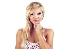Portrait der wundervollen blonden Frauen Stockfotos