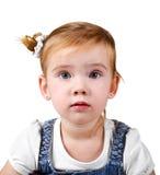 Portrait des überraschten kleinen Mädchens Stockbilder