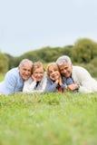 Portrait des aînés retirés se situant dans le sourire d'herbe Photographie stock libre de droits
