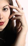 Portrait des Abschlusses des jungen Mädchens oben. Lizenzfreies Stockfoto