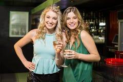 Portrait des amis buvant du champagne Images libres de droits