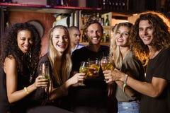 Portrait des amis de sourire grillant des verres de bière Photos libres de droits