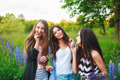 Portrait des amis de sourire heureux le week-end extérieur Trois beaux jeunes meilleurs amis heureux ayant l'amusement, souriant Photo libre de droits