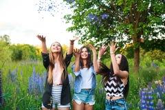 Portrait des amis de sourire heureux le week-end extérieur Trois beaux jeunes meilleurs amis heureux ayant l'amusement, souriant Image libre de droits