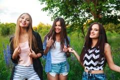 Portrait des amis de sourire heureux le week-end extérieur Trois beaux jeunes meilleurs amis heureux ayant l'amusement, souriant Images libres de droits