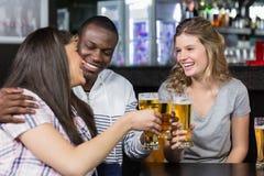 Portrait des amis heureux ayant une boisson Photos libres de droits