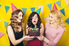 Portrait des amis joyeux grillant et regardant l'appareil-photo la fête d'anniversaire Filles de sourire Images stock