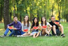 Portrait des amis s'asseyant sur l'herbe avec la pastèque fraîche Photographie stock libre de droits