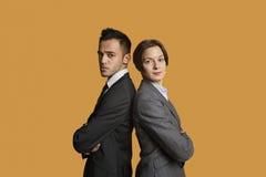 Portrait des associés se tenant de nouveau au dos avec des bras croisés Photo libre de droits