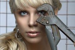 Portrait des blauäugigen blonden Geschlechtes Stockfotografie