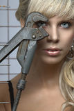 Portrait des blauäugigen blonden Geschlechtes Stockfotos
