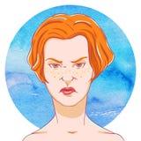 Portrait des cheveux méfiants de rouge de jeune fille illustration stock
