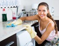 Portrait des coffrets de lavage de femme au foyer heureuse image libre de droits