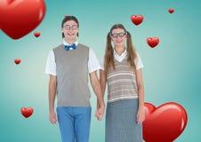 Portrait des couples de ballot tenant des mains Images stock