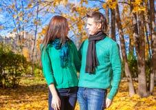 Portrait des couples heureux dans l'amour l'automne ensoleillé Photographie stock libre de droits