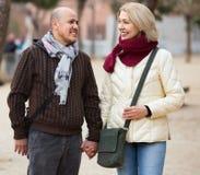 Portrait des couples mûrs de sourire de positif au jour d'automne Photographie stock libre de droits