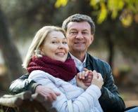 Portrait des couples pluss âgé en parc Photo stock