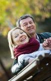 Portrait des couples pluss âgé en parc Image stock