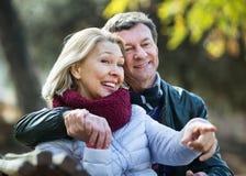 Portrait des couples pluss âgé positifs de sourire gais Photos stock