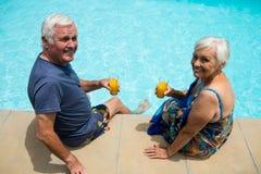 Portrait des couples supérieurs tenant des verres de jus Photos stock