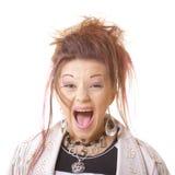 Portrait des erschrockenen schreienden Mädchens Lizenzfreies Stockfoto
