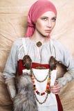Portrait des femmes de slavic de l'habillement national passé de vintage photo stock