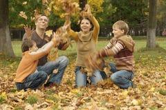 Feuilles d'automne de jet de famille Photos stock