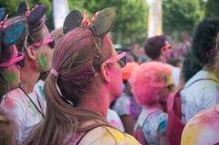 Portrait des filles avec des oreilles de Mickey chez Colore Mulhouse 2017 Image libre de droits