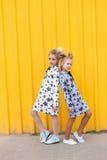 Portrait des filles sur le fond jaune Image libre de droits