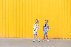 Portrait des filles sur le fond jaune Images libres de droits