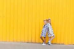 Portrait des filles sur le fond jaune Photo libre de droits
