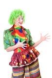 Portrait des frohen weiblichen Clowns Lizenzfreies Stockfoto
