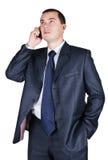 Portrait des Geschäftsmannes, der durch Telefon spricht Lizenzfreie Stockfotografie