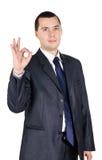 Portrait des Geschäftsmannes mit dem Daumen oben Stockbilder
